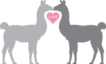 Llama Llove.  Two Llamas kiss, their necks forming a heart shape.