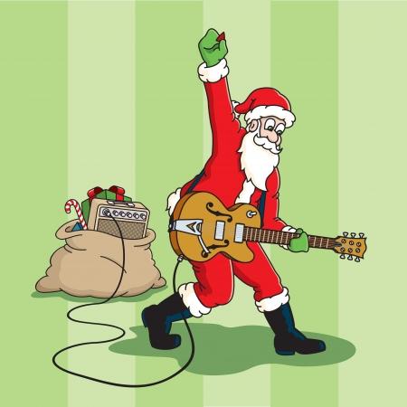 Rockin' Santa Claus plays an electric guitar Ilustração