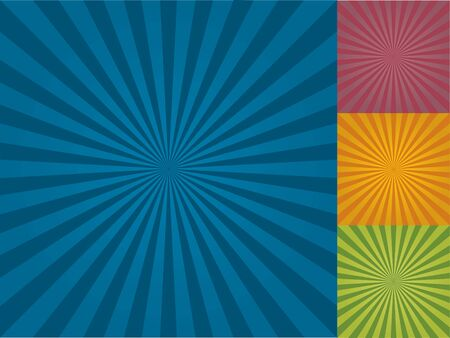 Radial Background Pattern in three different color combinations.
