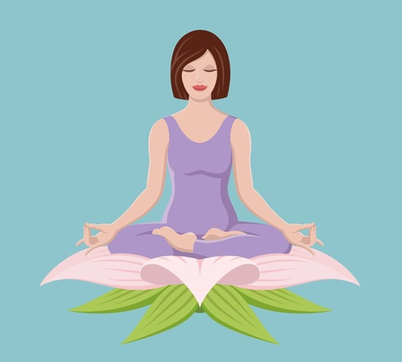 mantra: Pretty girl doing yoga in the lotus position Illustration