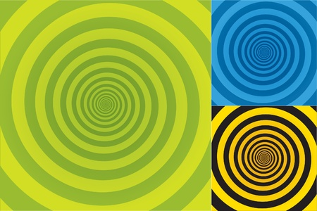 Spiral background Pattern in three different color combinations.