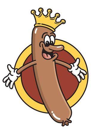 bratwurst: King of the Wieners.  Cartoon of a smiling hot dog wearing a crown. Illustration