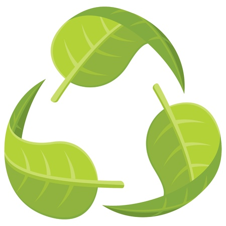 earth day: Recycle Logo formed by green leaves.