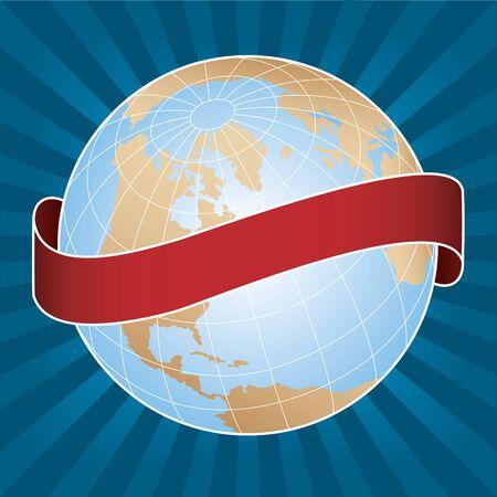 longitude: World Globe with Radial Background and Banner