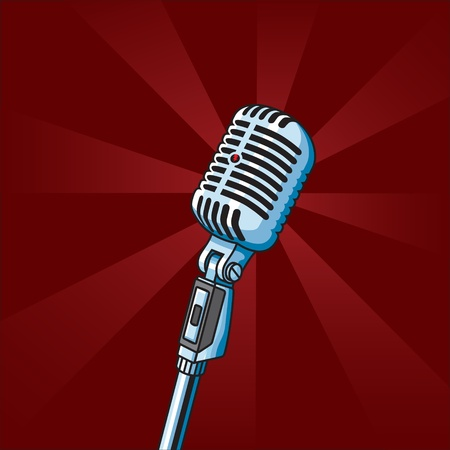 singer with microphone: Vintage Microphone on radial background