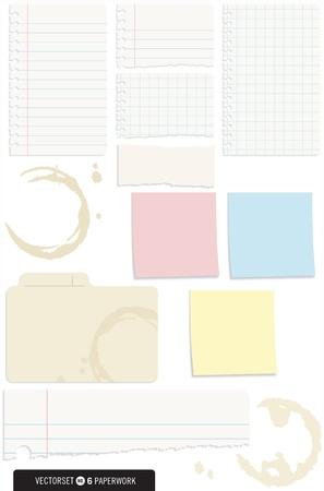 Set of 10 Note Paper Vectors with shadows and coffee stains Stock Illustratie