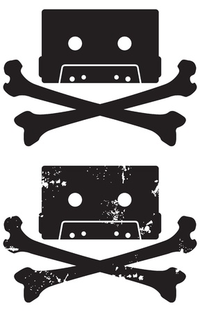 Cassette Skull and crossbones icon  Includes grunge and clean versions  Easy to edit shapes and colors   イラスト・ベクター素材