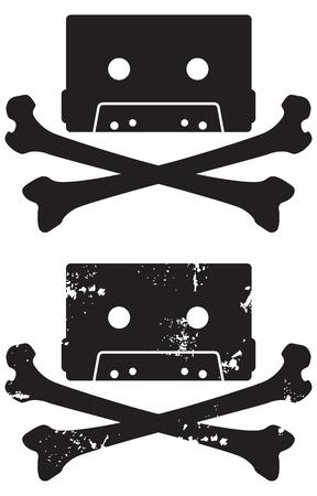 cintas: Cr�neo de cassette y el icono de la bandera pirata Incluye versiones de Easy grunge y limpia para modificar las formas y colores Vectores