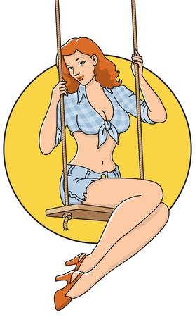 Country Hillbilly Meisje Pinup illustratie Makkelijk te kleuren en vormen te bewerken Stock Illustratie