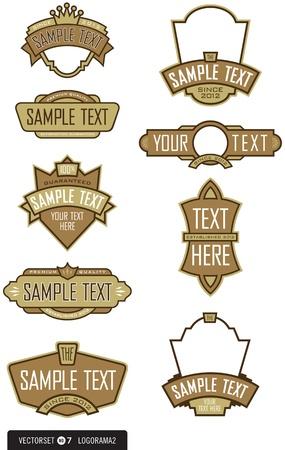 shield emblem: Set di 9 elementi dell'etichetta logo design per loghi, etichette, menu, e pi� facile da modificare forme e colori Vettoriali