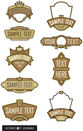 shield logo: Set of 9 Logo Label design elements for logos, labels, menus, and more  Easy to edit shapes and colors  Illustration
