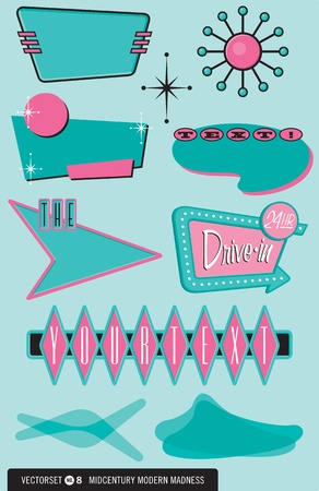 レトロ: レトロな 10 のセット、1950 年代スタイルのデザインのロゴ、ラベル、メニュー、要素