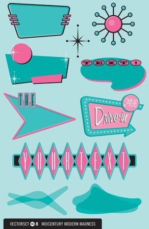 Conjunto de 10 elementos de diseño retro de estilo años 50 para logotipos, etiquetas, menús y más
