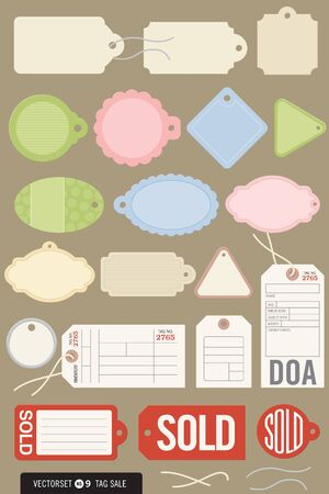 Set of 20 illustrations of gift tags, price tags, inventory tags, sold tags, and even a toe tag Illustration