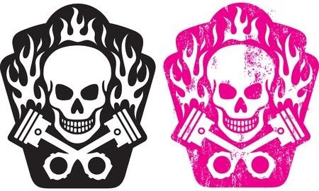 skull tattoo: illustratie van de schedel en gekruiste zuigers met vlammen Inclusief schone en grunge versie Makkelijk te kleuren en vormen te bewerken Stock Illustratie