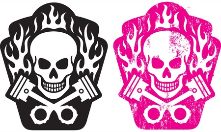 illustration of skull and crossed pistons with flames  Includes clean and grunge versions  Easy to edit colors and shapes  Vector