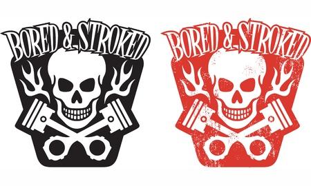 pistones: la ilustraci�n del cr�neo y pistones cruzados con llamas y la frase Aburrido y acarici� Incluye versiones limpias y el grunge f�cil de editar colores y formas Vectores