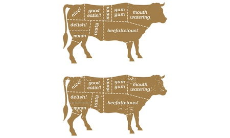 carne de res: Barbacoa de carne cortada la ilustraci�n Vectores