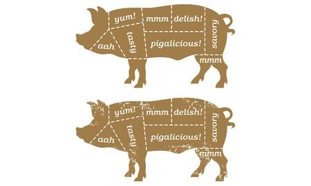 Barbecue pork cut illustration Vettoriali