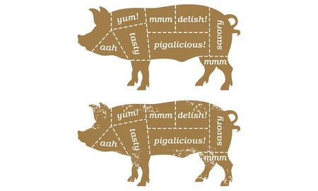 Barbecue pork cut illustration 矢量图像