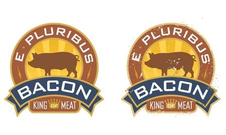 Símbolo tocino con las palabras, E Pluribus tocino, y el Rey de la Carne Incluye versiones limpias y el grunge