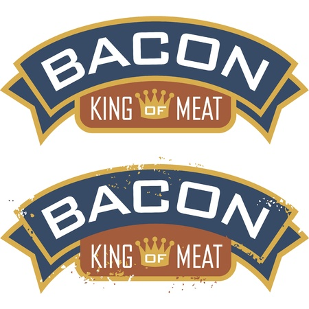 bacon fat: Bacon symbol featuring the words, King of Meat  Includes clean and grunge versions  Illustration