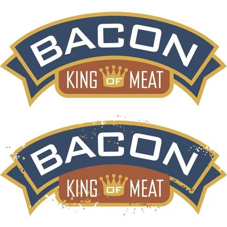 Speck-Symbol mit den Worten, Enthält King of Meat sauber und Grunge-Versionen
