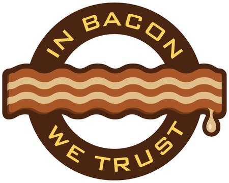 ufać: Symbol Bacon featuring słowa, w boczku We Trust