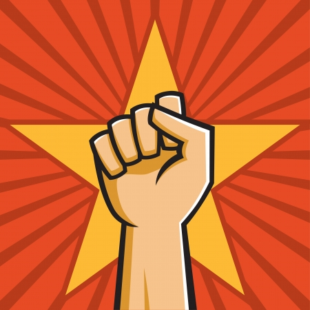 Vector Illustration of a fist held high in the style of Russian Constructivist propaganda posters.  イラスト・ベクター素材