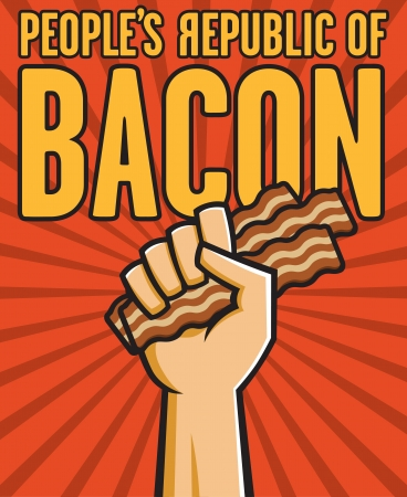 Vector Illustration of a fist holding bacon in the style of Russian Constructivist propaganda posters. Vector