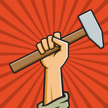 Vector Illustration of a fist holding a hammer in the style of Russian Constructivist propaganda posters. Фото со стока - 15704371