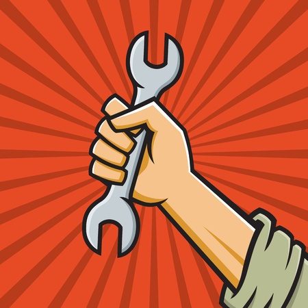 Vector Illustration of a fist holding a wrench in the style of Russian Constructivist propaganda posters. Иллюстрация