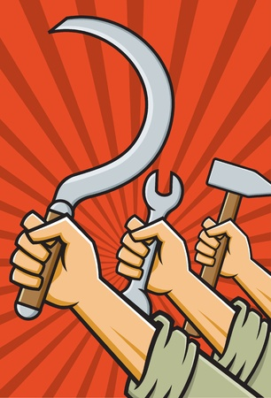 soviet: Vector Illustration of fists holding tools in the style of Russian Constructivist propaganda posters.