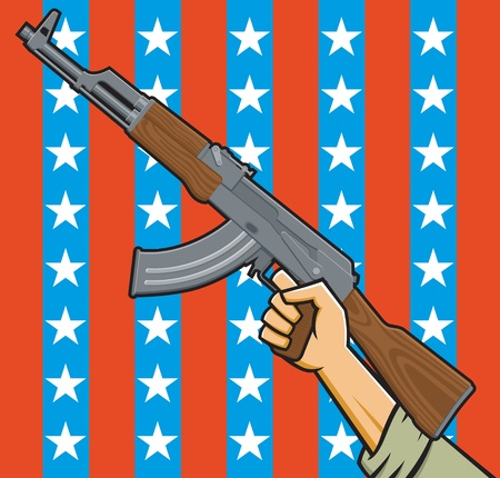 Illustration of a fist holding an assault rifle in front of American stars and stripes