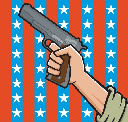 45 caliber:  Illustration of a fist holding a pistol in front of American stars and stripes