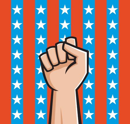 Illustration of a raised fist front of American stars and stripes