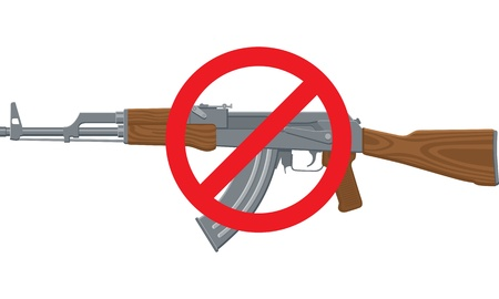 Illustration of an assault rifle or sub-machine gun with red circle and line