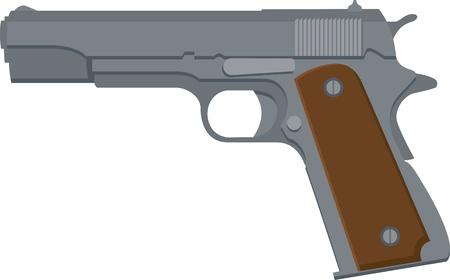 Illustratie van een 1911-stijl automatisch pistool Stock Illustratie