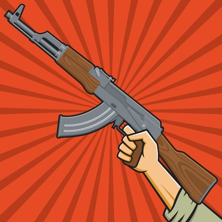 Illustration of a fist holding an assault rifle  in the style of Russian Constructivist propaganda posters