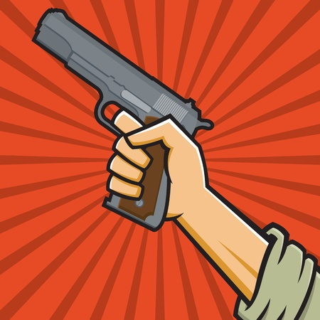 45 caliber:  Illustration of a fist holding a pistol in the style of Russian Constructivist propaganda posters