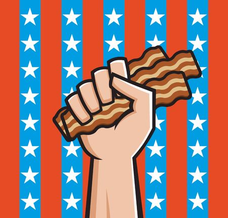 Raised fist holding bacon in front of American stars and stripes  矢量图像