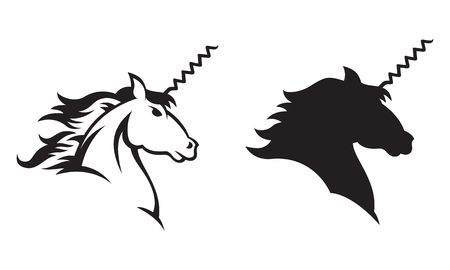 Illustration of a Unicorn with a corkscrew for a horn  Includes line drawing and silhouette versions