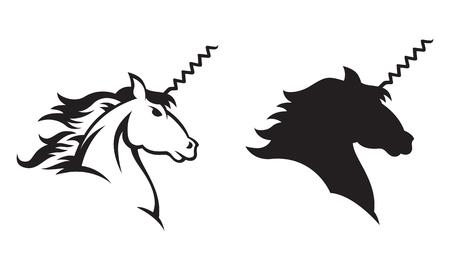 caballo bebe: Ilustración de un unicornio con un sacacorchos por un cuerno Incluye dibujo lineal y versiones silueta