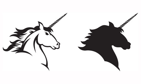 Illustration of a Unicorns head and shoulders  Includes line drawing and silhouette versions