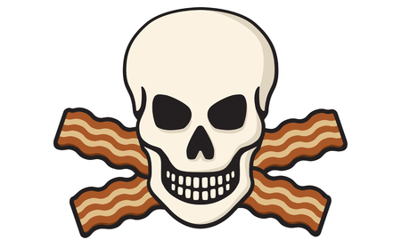 Vector Illustration of skull with crossed bacon