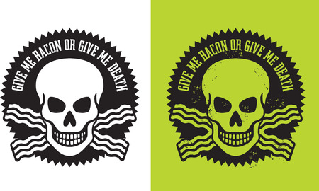 Illustration of skull with crossed bacon and the slogan Illustration