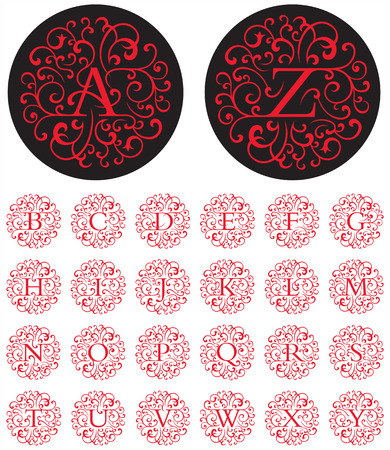 Elegant drop cap vector letters in circular swash patterns.