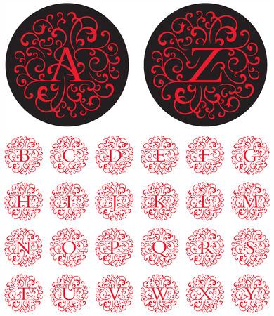 Letras letra capital vector elegantes en patrones circulares swash. Foto de archivo - 24869438