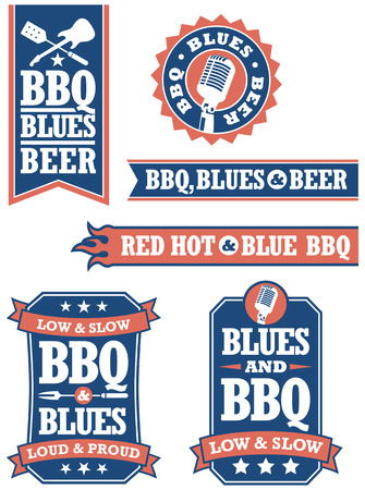 Set of 6 Barbecue and Blues badges icons    イラスト・ベクター素材