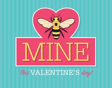 Valentine emblem with bee.